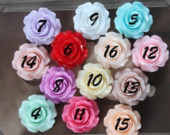 4 pcs Big  Beautiful  Colorful Rose Flower Resin Cabochon   - -30mm(CAB-DH)