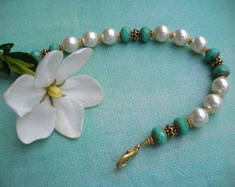 TRINA ~ Bridal Turquoise Picasso Rondelle and Creamrose Pearl Bracelet