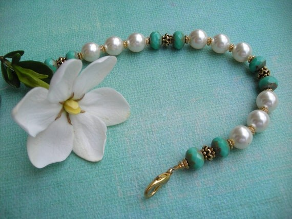 TRINA  Turquoise Picasso Rondelle and Creamrose Pearl Bracelet