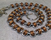 Triple Twist of Fate Stainless Steel and Bronze Chainmaille Wallet Chain