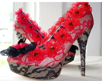 black and red lace size 8
