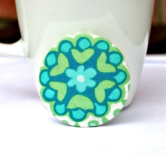 Pinback button. Fabric covered brooch. Badge. Floral. Green blue. 48mm 1 7/8 inch. Large. Australian seller.