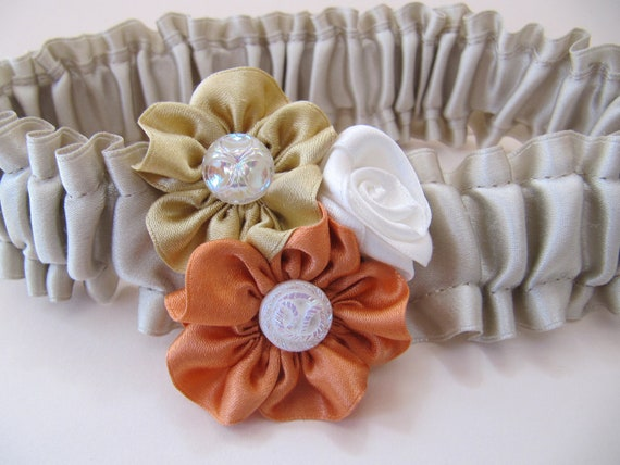 Fall Wedding Garter Autumn Bride Champagne silk satin Pumpkin Gold and Ivory ribbon roses Rosettes Vintage weddings