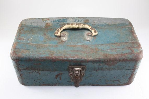 Vintage Teal Fishing Tackle Box Metal Rusty Dusty Patina