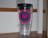 Set of 2 Vinyl Personalized tervis style tumbler 24 oz insulated BPA free double walled Monogrammed for you
