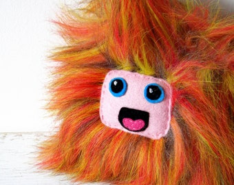 monster doll plush orange red purple doll lion toy kawai face hairy fur doll