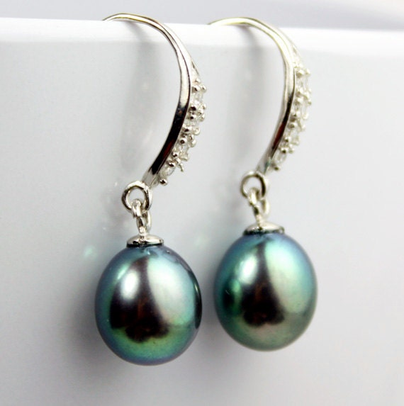 Sterling Silver CZ and Iridescent Blue Pearl Earrings