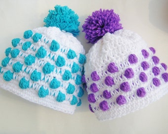 Crochet Pattern Baby Beanie Hat, Newborn to Adult, Polka Dot Beanie