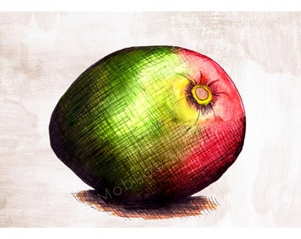 DIGITAL Mango illustration-instant download from original ink and watercolor illustration