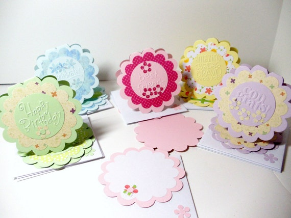 All Occasion- Mini- Greeting Cards- Embossed- 15 Cards- Boxed Set- Handmade
