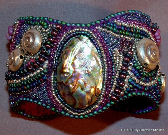 SYMPHONIC SHORES  Bead Embroidered  Cuff Bracelet
