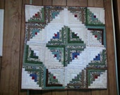 JUNGLE 39 inch square white diamond log cabin quilted wallhanging