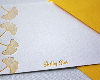 Personalized Letterpress Stationery Ginkgo Leaves Honey Gold Tangerine Tango