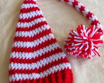 Red and White Pixie Elf Hat - Baby Elf Hat - Baby Christmas Elf Hat - Baby Elf Hat -by JoJosBootique