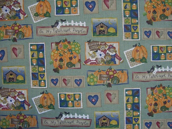 Destash, Pumpkin Pal Patch by Daisy Kingdom, 1 3/4 yard of cotton fabric with pumpkins and scarecrows