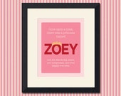 Once Upon a Time, Princess Print, Customized Name, 8x10 inch