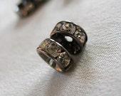 30 pc Clear Crystal A Grade Rhinestone Gunmetal  Rondell Spacer Beads, not AB, 6mm diameter, pkg  30