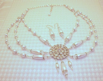 Vintage Brooch Silver & Pearl Necklace and Earring Set