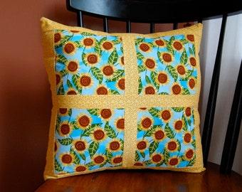 SALE, Sunflower Pillow, Window Box, Yellow and Blue Pillow