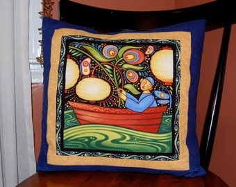SALE, Oceanica Seafolk Pillow, Lantern Boat, Beach Pillow