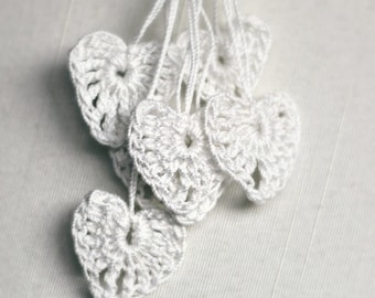 Crocheted Heart Motifs, 7 Tiny Hearts, Bridal Shower Decor, White Wedding Decor, Love, Romance