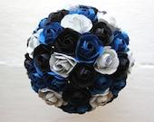 Paper Flower Bouquet, Wedding, Blue, Black, Silver, Paper Rose