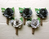 Paper Flower Boutonniere, Wedding, White, Grey, Book Page, Music Note, Rose