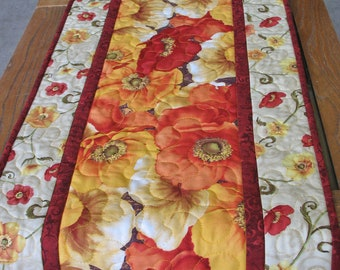 Poppy Table Runner, fall, autumn, quilted
