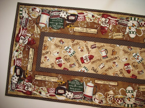 CoffeeTable Runner Quilted fabric from Wilmington Prints Cafe Americano Line