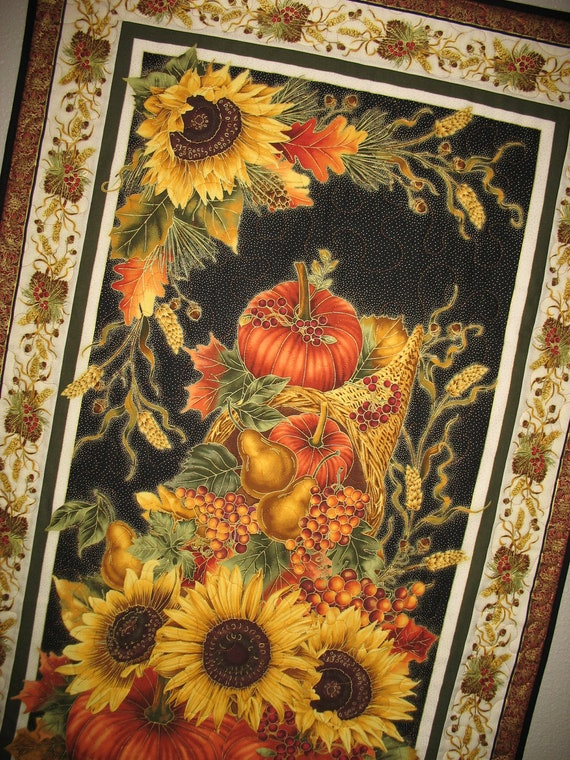 Autumn Harvest Wall Hanging from Timeless Treasures Fabric harvest line