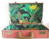 Vintage Tweed Suitcase With Suede Trim
