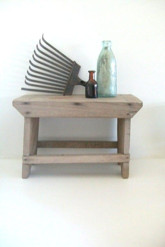 Folk/Rustic Handmade Wooden Vintage Step Stool