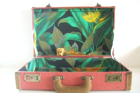 Vintage Tweed Suitcase With Suede Trim