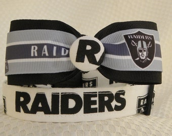 Dog Collar Oakland Raiders Black White and Grey w Ribbon Bow Tie Size Sports Football Adjustable Dog Collar D Ring Hand made Choose Size