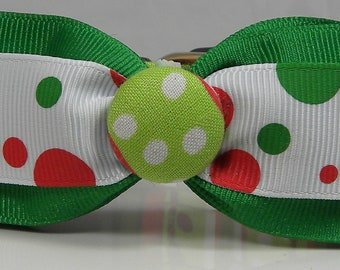 Dog Collar READY To SHIP Party Dots Red Green White Polka Dots Christmas Holiday Season Collar Ribbon Bow Tie Adjustable Collars D Ring