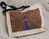 Strong Canvas Tote Bag with gusset featuring Peacock by Katy Fryd