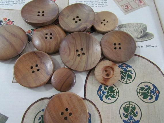 Vintage Wooden Buttons Large Size Lot