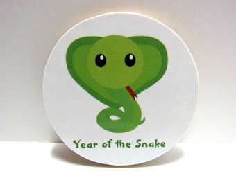 Chinese Zodiac - Year of the Snake - Wood Magnet