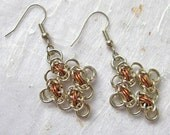 Silver and copper chainmail earrings