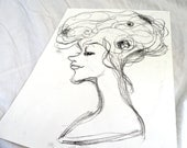 Original Ink Monotype Face Figure Drawing 01 by juliacalimera