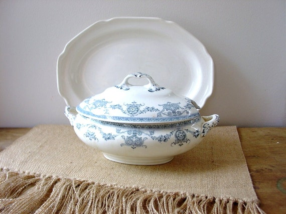 Vintage Blue and White Ironstone Transferware Tureen Child Size
