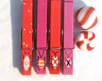 PAINTED BUGS CLOTHESPINS hand painted magnetic clothespin peg