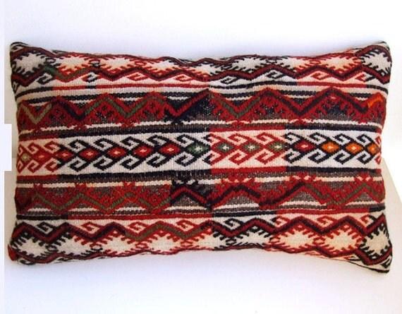 Turkish - Anatolian wool kilim Pillow Cover - rug