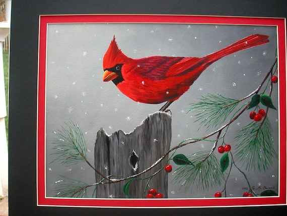 Bird Painting Winter Cardinal Original Painting Wildlife