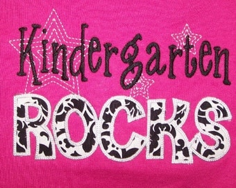 Kindergarten Rocks tshirt appliqued Damask fabric t shirt
