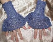 Blue drop stitch knit lace cufflets