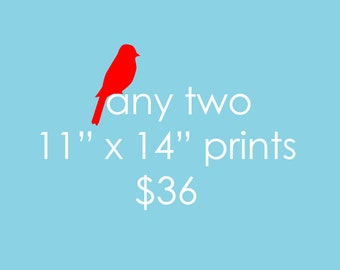 "Any Two 11""x14"" Art Prints in the shop - SALE"