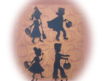 Trick or Treat Kids Halloween Silhouette Die Cut Scrapbook/Card Embellishments Princess Witch Dracula Frankenstein, Set of 8