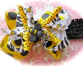 Bumble bee bow spring or summer 4 inch on alligator clip removable from 3 or 1.5 you choose size headband