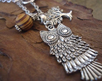 ROOT WOOD OWL long, delicate chain with tree and owl 11